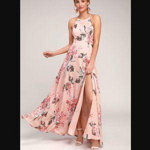 NWT Lulus Daley Blush Floral Print Maxi Dress XS